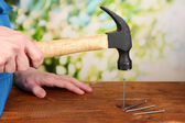 Builder hammering nails into board on natural background — Stock fotografie