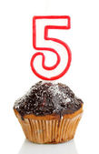 Birthday cupcake with chocolate frosting isolated on white — Stock Photo
