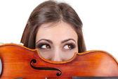 Belle jeune fille avec violon, isolé sur blanc — Photo
