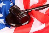 Judge gavel on american flag background — Stock Photo