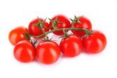 Dal üzerinde beyaz izole kiraz domates — Stok fotoğraf