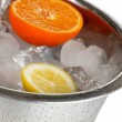 Ice and citrus in bucket isolated on white — Stock Photo #22718887