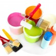 Set for painting: paint pots, brushes, paint-roller isolated on white — Stock Photo #22719527