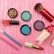 Decorative cosmetics on pink background — Stock Photo