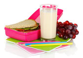Lunch box with sandwich,milk,grapes and stationery isolated on white — Stock Photo