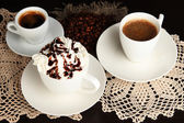 Assortment of different hot coffee drinks close up — Stock Photo