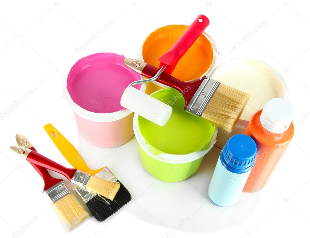 Fix e pour la peinture pots de peinture pinceaux peinture rouleau isol sur blanc - Pot de peinture prix ...
