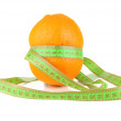 Orange with measuring tape, isolated on white — Stock Photo