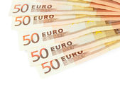 Euro banknotes isolated on a white — Foto Stock