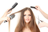 Woman with long hair in beauty salon, isolated on white — Stock Photo