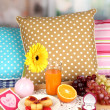 Breakfast in bed on Valentine's Day on room background - Stockfoto