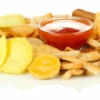 Different kinds of snacks and sauce, isolated on white — Stock Photo