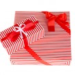 Stock Photo: Gift boxes, festive wrapping isolated on white