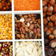 Stock Photo: Assortment of chestnut,beans