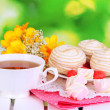 Beautiful composition with cup of tea and marshmallow on wooden picnic table on natural background — Stock Photo #22794400