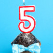 Birthday cupcake with chocolate frosting on blue background — Stock Photo #22797744