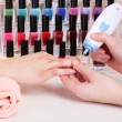 Manicure process in beauty salon, close up — Stock Photo #22798222