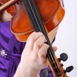 Beautiful young girl with violin, close up — Stock Photo