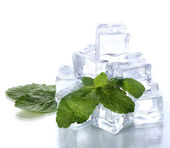 Ice with mint isolated on white — Stock Photo