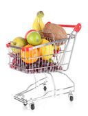 Diferentes frutas en carro aislado en blanco — Foto de Stock