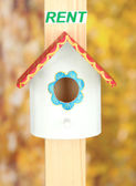 Decorative nesting box and sign on bright background — Stock Photo