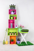 Colorful shelves with decorative elements and plants standing in room — Stock Photo