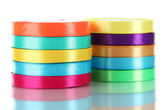 Many bright ribbons isolated on white — Stock Photo