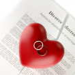 Red heart with torn Divorce decree document, on white background close-up — Stock Photo