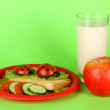Fun food for kids on green background — Stok fotoğraf