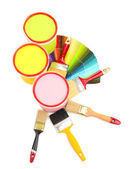 Set for painting: paint pots, brushes, palette of colors isolated on white — Stok fotoğraf