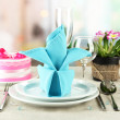 Romantic table serving on bright background — Stock Photo #22914550