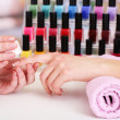 Manicure process in beauty salon, close up — Stock Photo #22916522