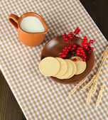 Dairy products on a wooden background — Stock Photo