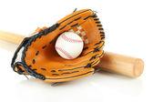 Baseball-Handschuh, Schläger und Ball, isoliert auf weiss — Stockfoto