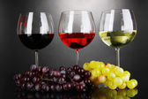 Assortment of wine in glasses on grey background — Stock Photo