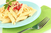 Rigatoni pasta dish with tomato sauce close up — Foto de Stock