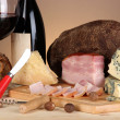 Exquisite still life of wine, cheese and meat products — Stock Photo #22925772
