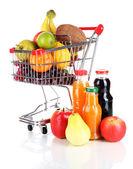 различные фрукты в тележку с соком, изолированные на белом фоне — Стоковое фото