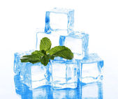 Ice cubes with mint isolated on white — Stock Photo