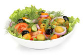 Fresh salad in plate isolated on white — Stock Photo