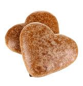 Biscuits au chocolat en forme de cœur isolé sur blanc — Photo