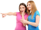 Two girl friends surprised isolated on white — Stock Photo