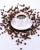 Cup of strong coffee isolated on white — Stock Photo