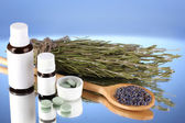 Bottles of medicines and herbs on blue background. concept of homeopathy — Stock Photo