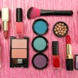Decorative cosmetics on pink background — Stock Photo #22992578