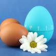 Blue egg timer and eggs, on color background — Foto Stock