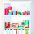 Beautiful white shelves with thread and material for handicrafts — Stockfoto