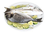 Two fish dorado with lemon on plate isolated on white — Stock Photo