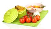 Delicious pilaf with vegetables isolated on white — Stock Photo