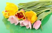 Beautiful tulips in bucket on green background — Stock Photo